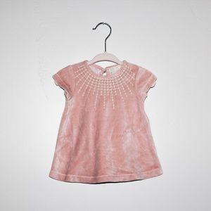 Zara Baby Pink Velvet dress sz 1/3 mo